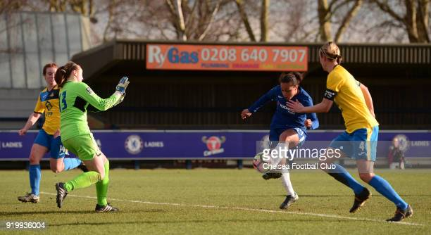 Drew Spence of Chelsea scores to put her side 30 up during a FA Women's Cup 5th Round match between Chelsea and Doncaster Rovers Belles at The Cherry...