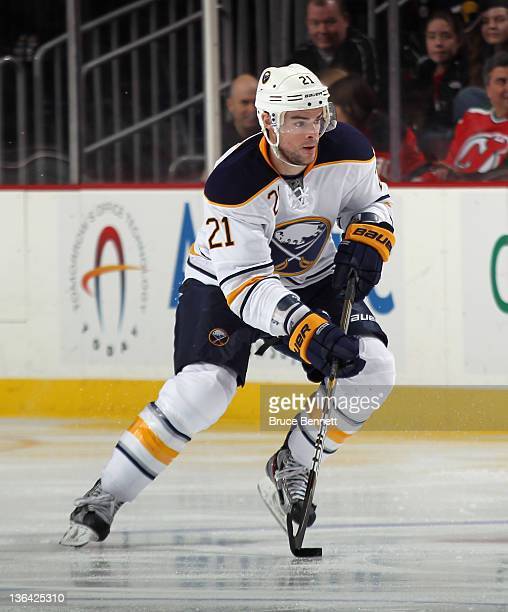 Drew Stafford of the Buffalo Sabres skates against the New Jersey Devils at the Prudential Center on December 28 2011 in Newark New Jersey