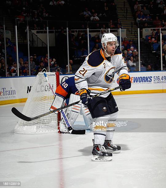 Drew Stafford of the Buffalo Sabres skates against the New York Islanders at the Nassau Veterans Memorial Coliseum on October 15 2013 in Uniondale...