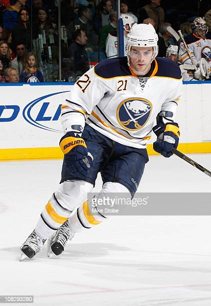 Drew Stafford of the Buffalo Sabres skates against the New York Islanders on January 15 2011 at Nassau Coliseum in Uniondale New York Islanders...