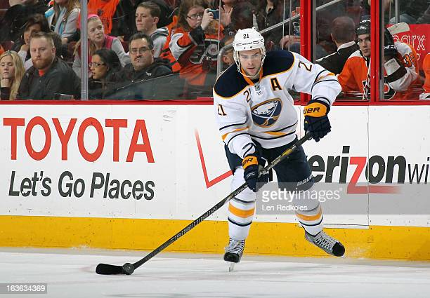Drew Stafford of the Buffalo Sabres skates the puck against the Philadelphia Flyers on March 10 2013 at the Wells Fargo Center in Philadelphia...