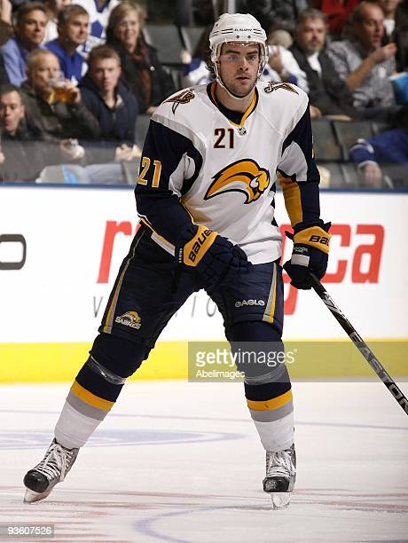 Drew Stafford of the Buffalo Sabres skates up the ice during action against the Toronto Maple Leafs November 30 2009 at the Air Canada Centre in...