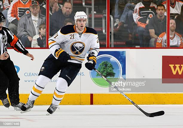 Drew Stafford of the Buffalo Sabres skates with the puck against the Philadelphia Flyers on March 5 2011 at the Wells Fargo Center in Philadelphia...