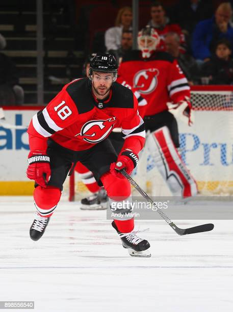 Drew Stafford of the New Jersey Devils skates during the game against the New York Rangers at Prudential Center on December 21 2017 in Newark New...