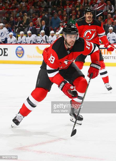Drew Stafford of the New Jersey Devils skates in Game Four of the Eastern Conference First Round against the Tampa Bay Lightning during the 2018 NHL...