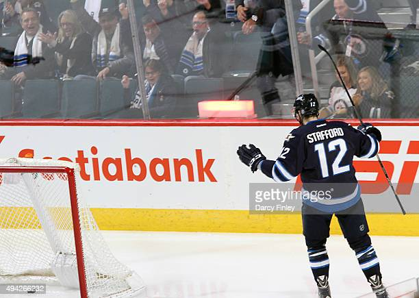 Drew Stafford of the Winnipeg Jets celebrates his second period goal against the Minnesota Wild at the MTS Centre on October 25 2015 in Winnipeg...