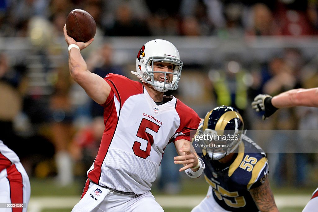 Drew Stanton #5 of the Arizona Cardinals throws a pass in the first quarter against the St. Louis Rams during their game at Edward Jones Dome on December 11, 2014 in St Louis, Missouri.