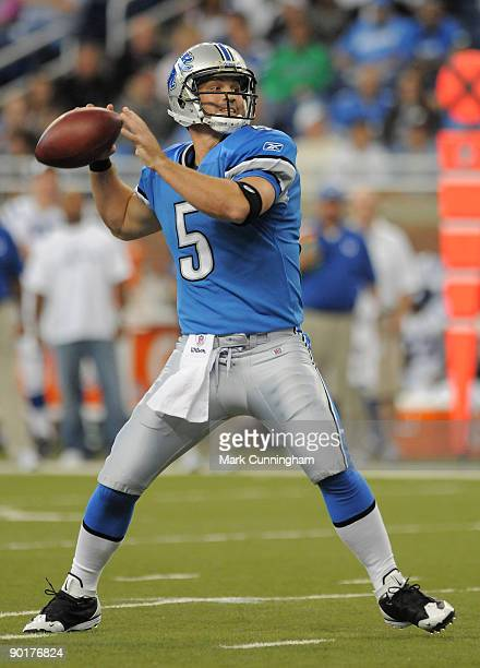 Drew Stanton of the Detroit Lions throws a pass against the Indianapolis Colts at Ford Field on August 29, 2009 in Detroit, Michigan. The Lions...