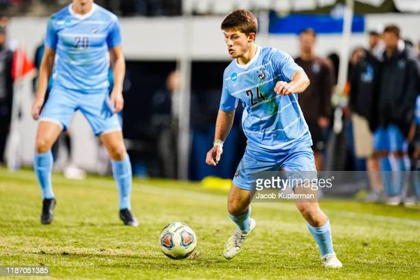 Drew Stern of Tufts Jumbos with the ball during the Division III Men's Soccer Championship held at UNCG Soccer Stadium on December 7, 2019 in...
