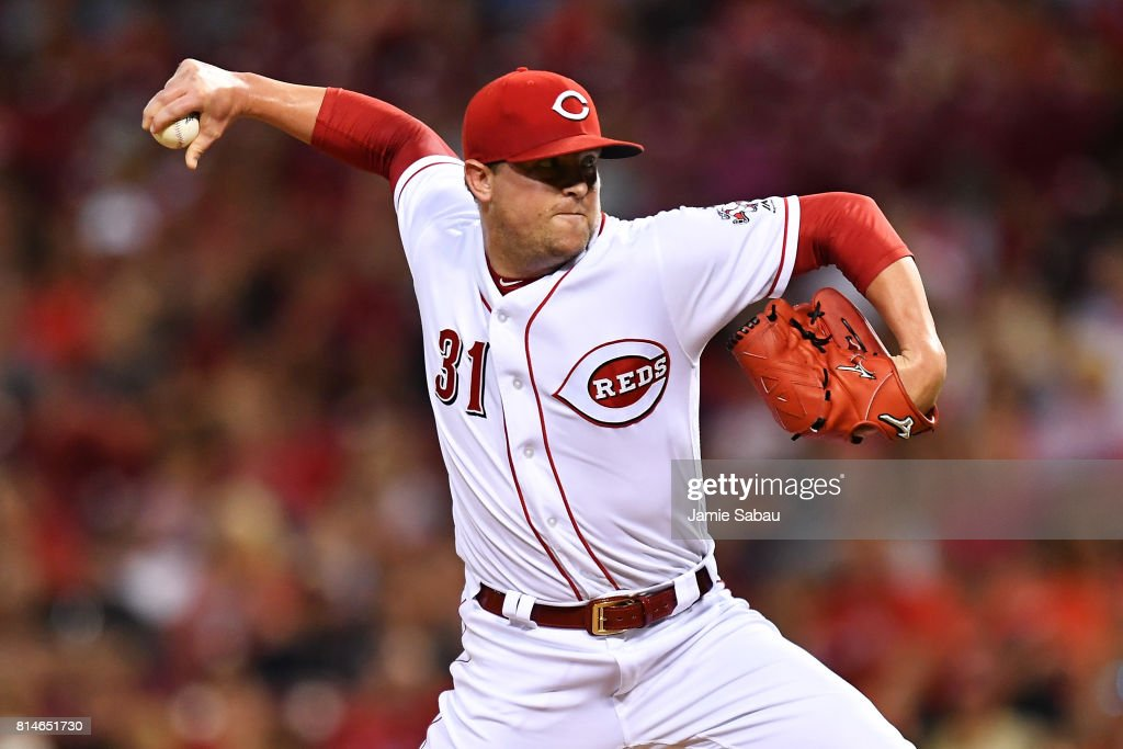 Drew Storen #31 of the Cincinnati Reds pitches in the eighth inning against the Washington Nationals at Great American Ball Park on July 14, 2017 in Cincinnati, Ohio. Washington shut out Cincinnati 5-0.