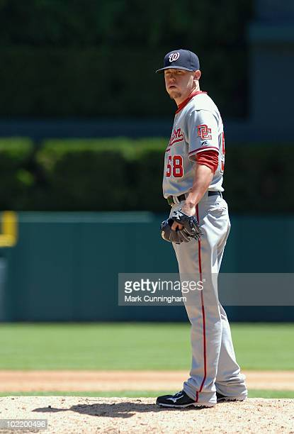 Drew Storen of the Washington Nationals pitches against the Detroit Tigers during the game at Comerica Park on June 17 2010 in Detroit Michigan The...