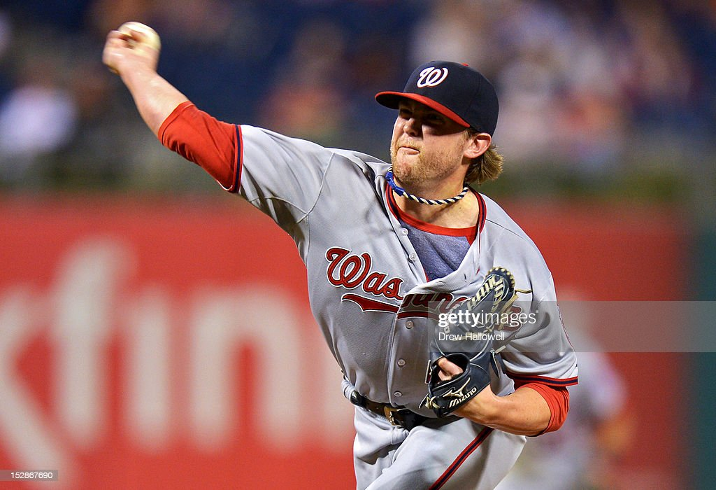 Drew Storen #22 of the Washington Nationals pitches in the ninth inning against the Philadelphia Phillies at Citizens Bank Park on September 27, 2012 in Philadelphia, Pennsylvania. The Nationals won 7-3.