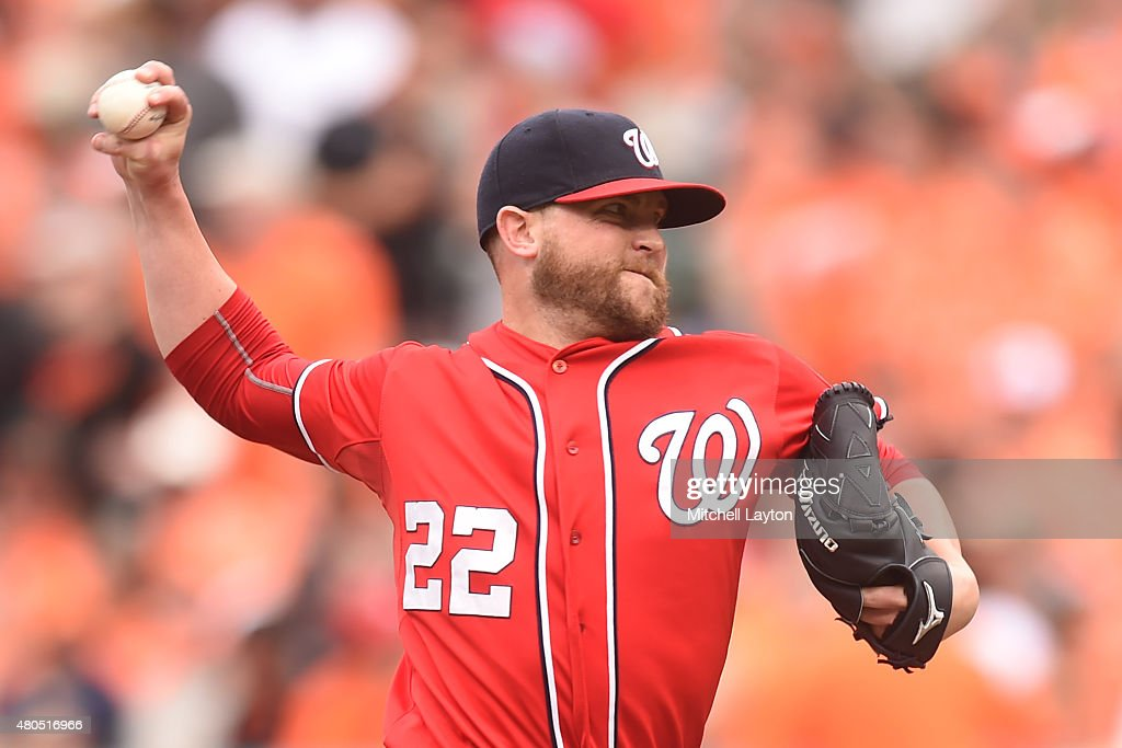 Drew Storen #22 of the Washington Nationals pitches in with ninth inning for his #27 save during a baseball game against the Baltimore Orioles at Oriole Park at Camden Yards on July 12, 2015 in Baltimore, Maryland. The Nationals won 3-2.