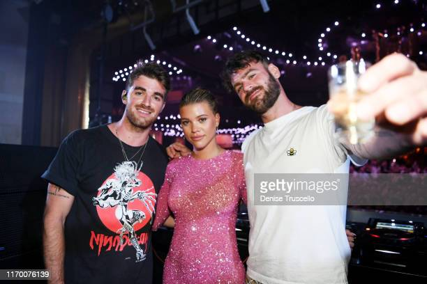 Drew Taggart and Alex Pall of The Chainsmokers celebrate with Sofia Richie at her 21st birthday at XS Nightclub at Wynn Las Vegas on August 24 2019...