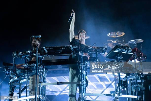 Drew Taggart and Alex Pall of The Chainsmokers perform during Musikfest 2019 on Wind Creek Steel Stage at PNC Plaza on August 02 2019 in Bethlehem...
