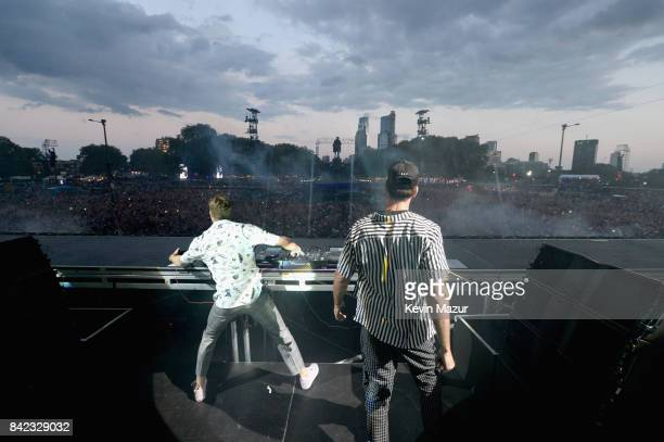 Drew Taggart and Alex Pall of The Chainsmokers perform onstage during the 2017 Budweiser Made in America festival Day 2 at Benjamin Franklin Parkway...