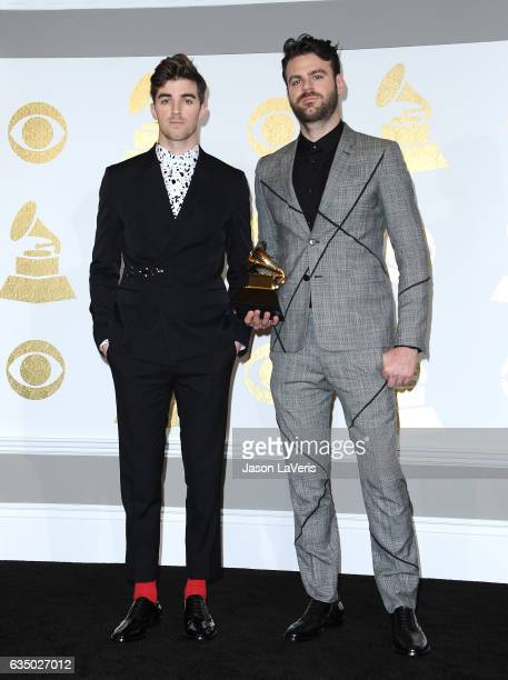Drew Taggart and Alex Pall of The Chainsmokers pose in the press room at the 59th GRAMMY Awards at Staples Center on February 12 2017 in Los Angeles...