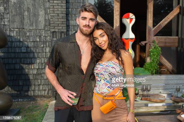 Drew Taggart and Chantel Jeffries attend the Hamptons Magazine x The Chainsmokers VIP Dinner at The Barn at Nova's Ark on July 25, 2020 in Watermill,...