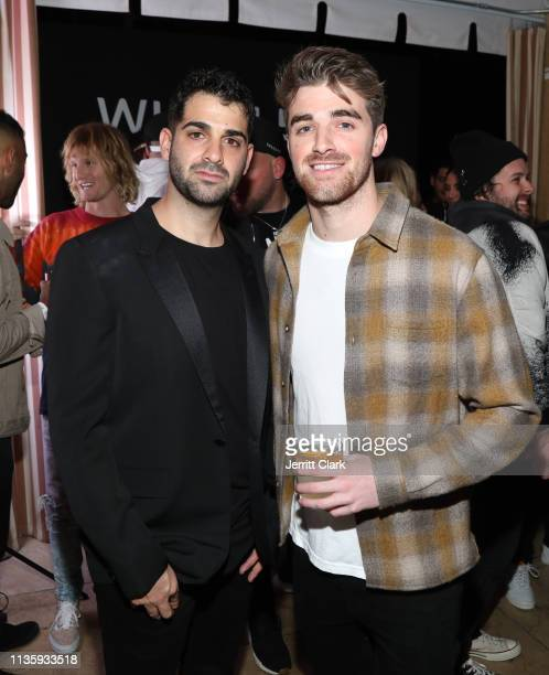 Drew Taggart of The Chainsmokers poses with Wheels CoFounder Josh Viner at the Wheels LA Launch at Sunset Tower on March 14 2019 in Los Angeles...