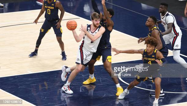 Drew Timme of the Gonzaga Bulldogs against the West Virginia Mountaineers during the Jimmy V Classic at Bankers Life Fieldhouse on December 02, 2020...