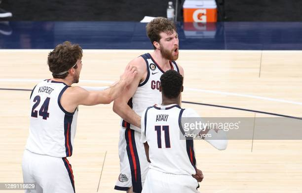 Drew Timme of the Gonzaga Bulldogs celebrates in the game against the West Virginia Mountaineers during the Jimmy V Classic at Bankers Life...