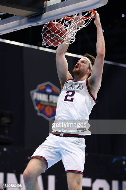Drew Timme of the Gonzaga Bulldogs dunks against the UCLA Bruins in the Final Four semifinal game of the 2021 NCAA Men's Basketball Tournament at...