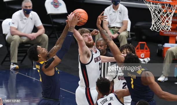 Drew Timme of the Gonzaga Bulldogs reaches for a rebound against the West Virginia Mountaineers during the Jimmy V Classic at Bankers Life Fieldhouse...