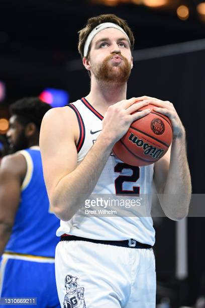 Drew Timme of the Gonzaga Bulldogs reacts after a play against the UCLA Bruins in the Final Four semifinal game of the 2021 NCAA Men's Basketball...