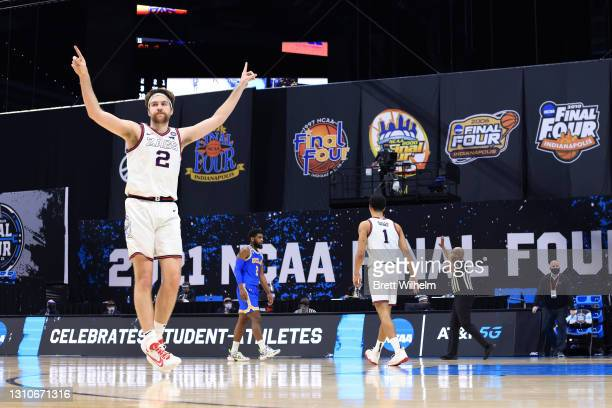 Drew Timme of the Gonzaga Bulldogs reacts during their game against the UCLA Bruins in the Final Four semifinal game of the 2021 NCAA Men's...