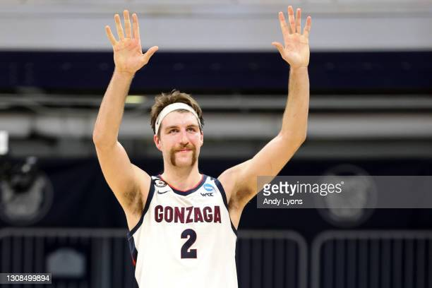 Drew Timme of the Gonzaga Bulldogs reacts to beating the Oklahoma Sooners in the second round game of the 2021 NCAA Men's Basketball Tournament at...