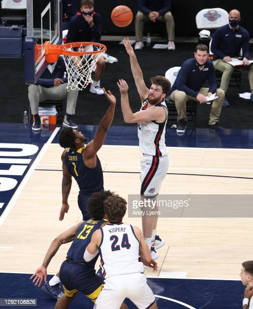 Drew Timme of the Gonzaga Bulldogs shoots the ball against the West Virginia Mountaineers during the Jimmy V Classic at Bankers Life Fieldhouse on...