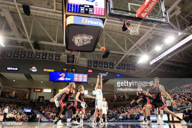 Drew Timme of the Gonzaga Bulldogs takes a free throw against the Eastern Washington Eagles in the second half at McCarthey Athletic Center on...