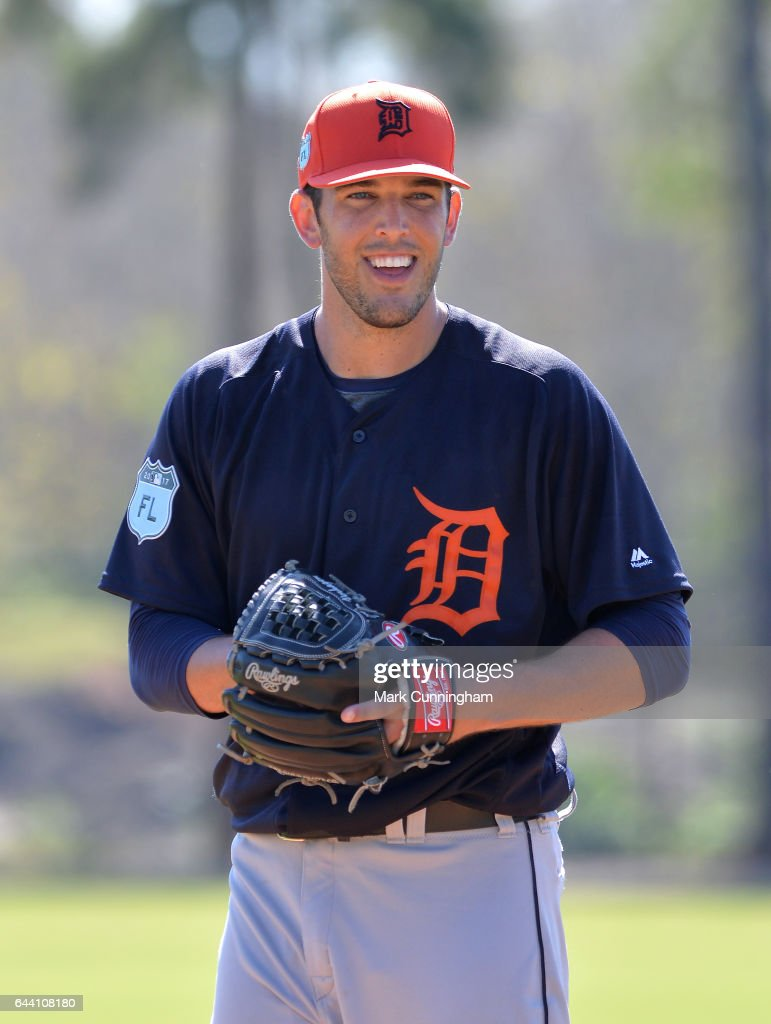 Drew VerHagen #54 of the Detroit Tigers looks on while pitching during Spring Training workouts at the TigerTown facility on February 20, 2017 in Lakeland, Florida.