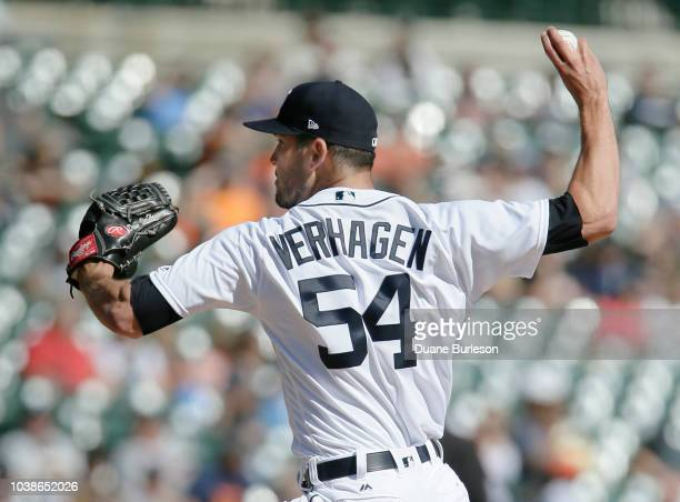 Drew VerHagen of the Detroit Tigers pitches against the Kansas City Royals in the sixth inning at Comerica Park on September 23 2018 in Detroit...
