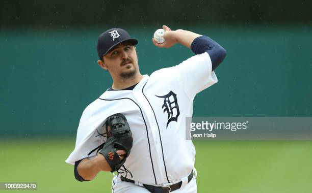 Drew VerHagen of the Detroit Tigers pitches during the fourth inning of the game against the Boston Red Sox at Comerica Park on July 22 2018 in...