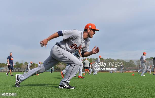 Drew VerHagen of the Detroit Tigers runs during Spring Training workouts at the TigerTown complex on February 15 2017 in Lakeland Florida