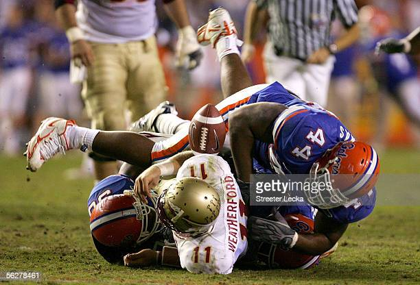 Drew Weatherford of the Florida State Seminoles is sacked by Marcus Thomas of the Florida Gators on November 26 2005 at Ben Hill Griffin Stadium in...