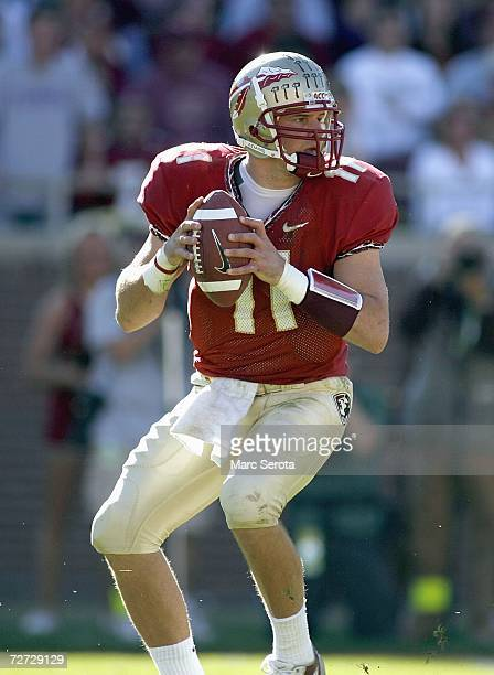 Drew Weatherford of the Florida State Seminoles looks to pass the ball during the game against the Florida Gators on November 25 2006 at Doak...
