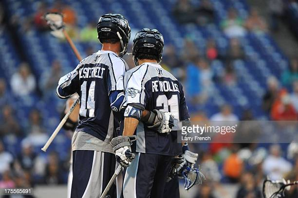 Drew Westervelt and Jeff Reynolds of the Chesapeake Bayhawks celelbrate a goal against the Rochester Rattlers at NavyMarine Corps Memorial Stadium on...