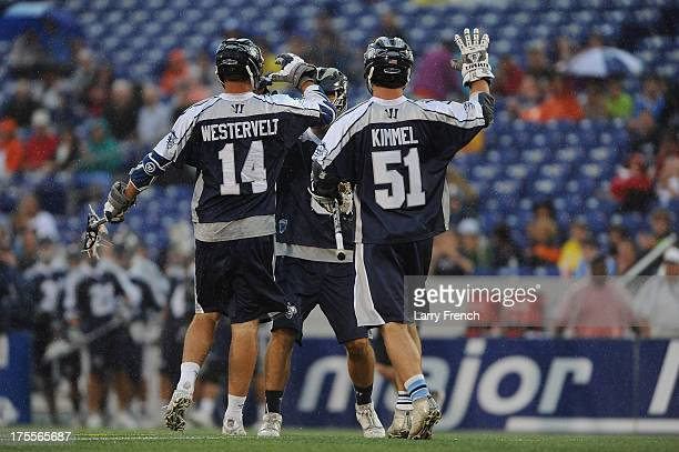 Drew Westervelt and Mike Kimmel the Chesapeake Bayhawks celebrate a goal against the Rochester Rattlers at NavyMarine Corps Memorial Stadium on...