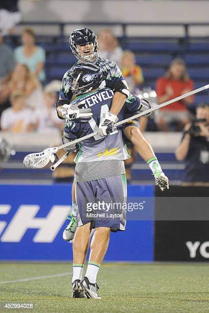 Drew Westervelt of the Chesapeake Bayhawks celabrates a goal in the third period with Jesse Bernhardt during a MLL lacrosse game against the Denver...