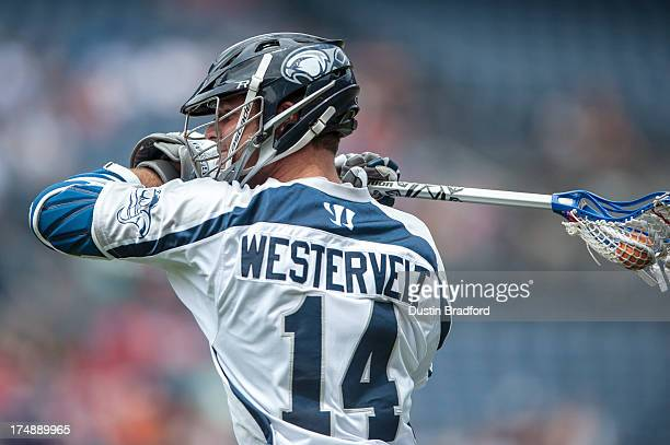 Drew Westervelt of the Chesapeake Bayhawks has possession of the ball during a Major League Lacrosse game against the Denver Outlaws at Sports...