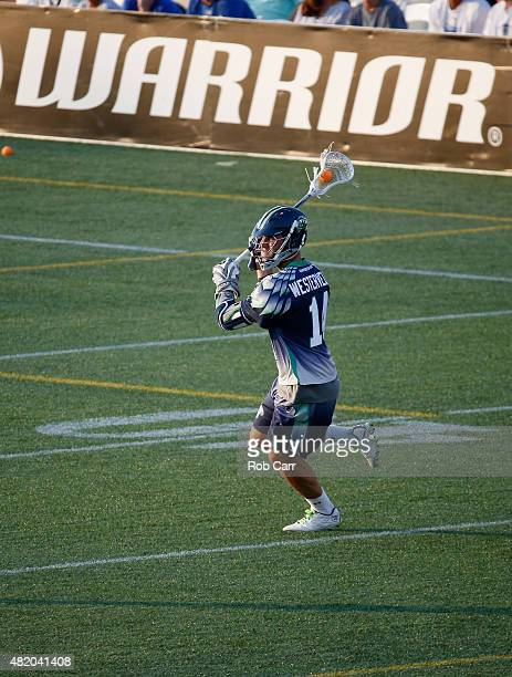 Drew Westervelt of the Chesapeake Bayhawks passes the ball against the Charlotte Hounds during the first half at NavyMarine Corps Memorial Stadium on...