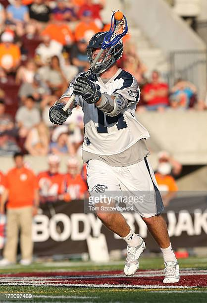 Drew Westervelt of the Chesapeake Bayhawks passes the ball during Major League Lacrosse game action against the Hamilton Nationals on June 29 2013 at...