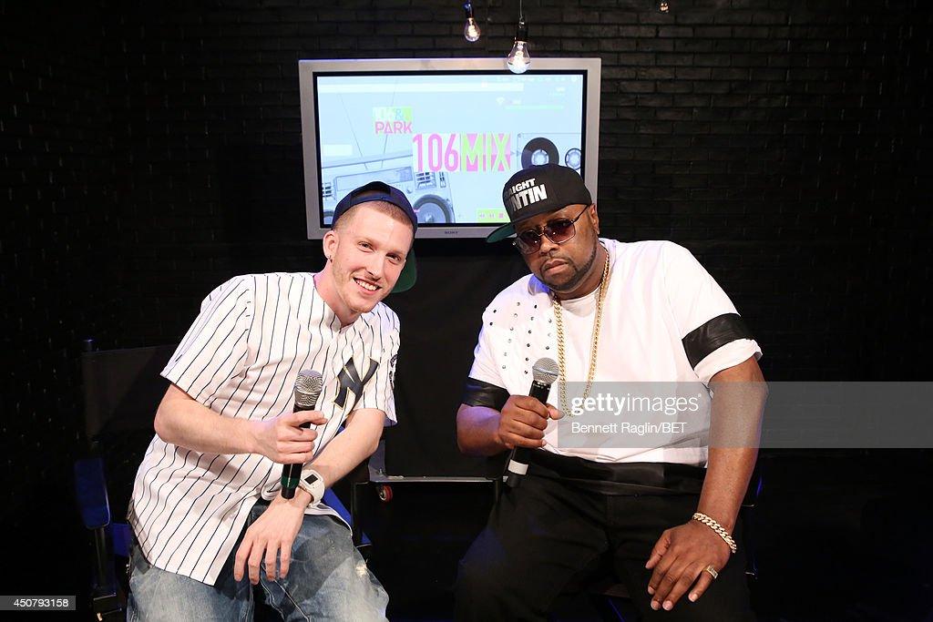 DJ Drewski and DJ Kay Slay visit 106 & Park at BET studio on June 16, 2014 in New York City.