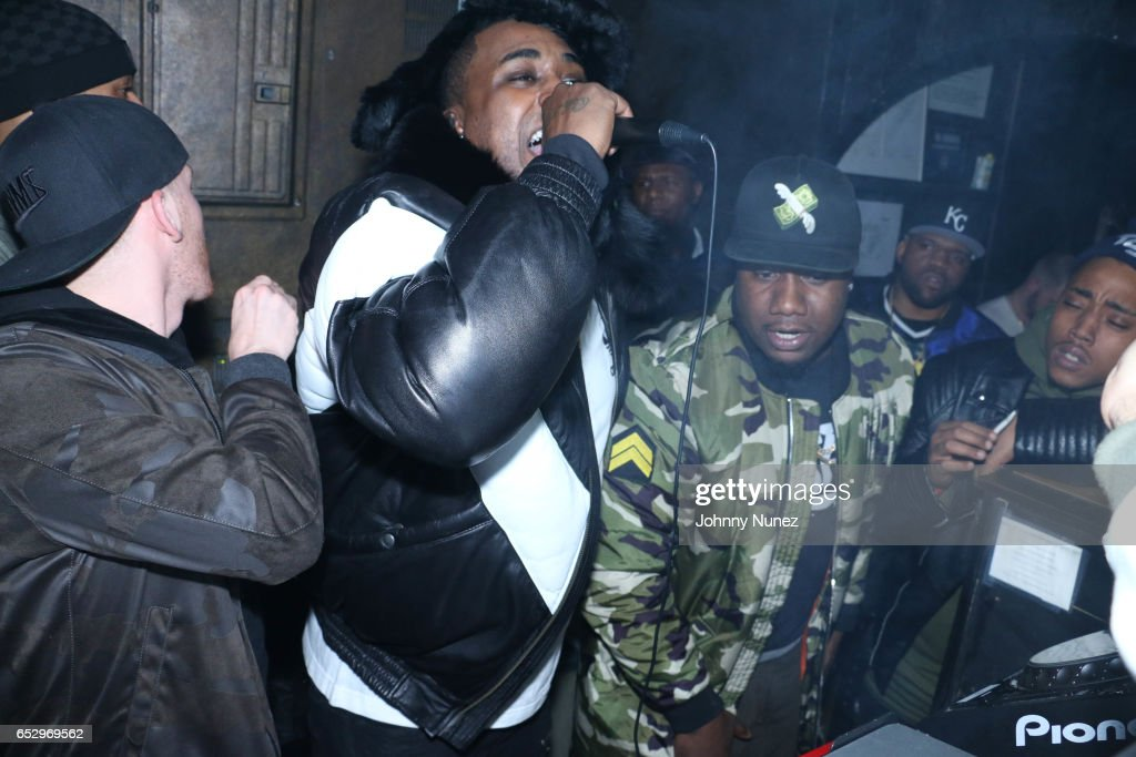 DJ Drewski, Oun P and Murda Mook perform during Tanduay After Party With Cardi B And Dave East at The Griffin on March 12, 2017 in New York City.