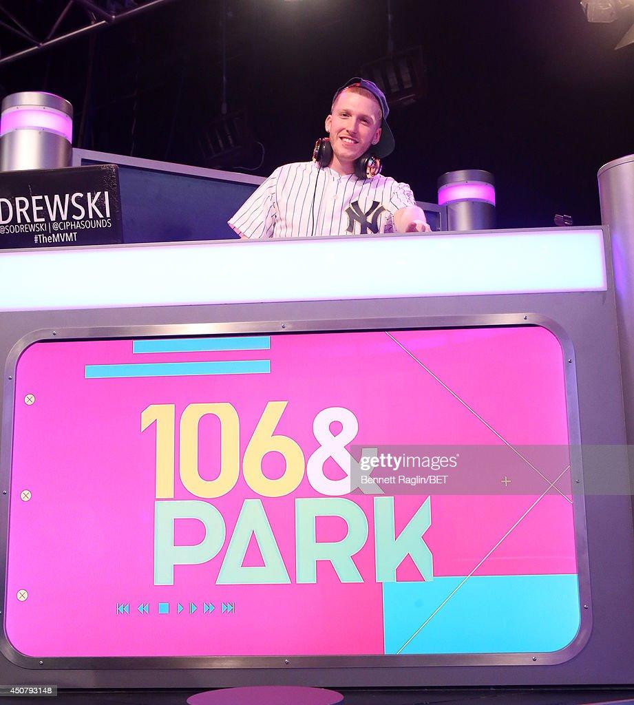 DJ Drewski visits 106 & Park at BET studio on June 16, 2014 in New York City.