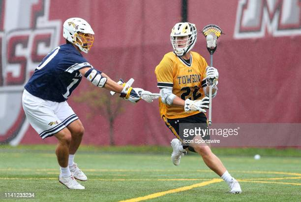Drexel Dragons Luke Hurley defends Towson Tigers Timmy Monahan during the CAA Championship game between Drexel Dragons and Towson Tigers on May 4 at...