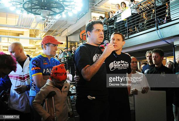 DrGary Schwartz of Memorial Sloan Kettering Center and CoFounder Cycle for Survival Dave Linn speak at the 2012 Cycle For Survival Day 2 at Equinox...