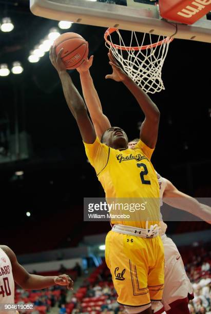 Drick Bernstine of the Washington State Cougars blocks the shot of Juhwan HarrisDyson of the California Golden Bears in the second half at Beasley...